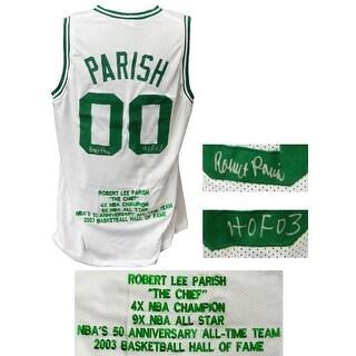 Robert Parish White Custom Embroidered Career Achievements Basketball Jersey wHOF03