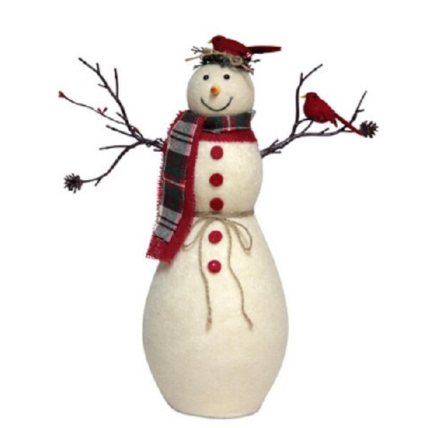 "15.5"" Glittered Smiling Snowman with Cardinal Birds Christmas Table Top Decoration"