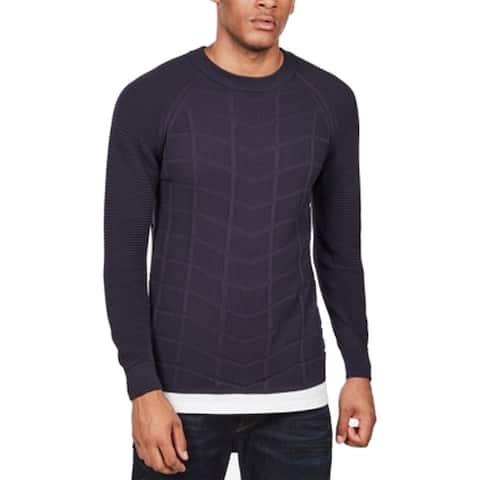 G-Star Raw Mens Sweater Navy Blue Size Large L Slim Crewneck Cotton