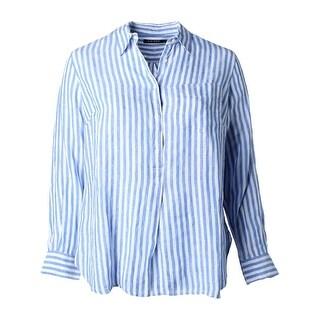 Lauren Ralph Lauren Womens Plus Blouse Linen Long Sleeves - 1x