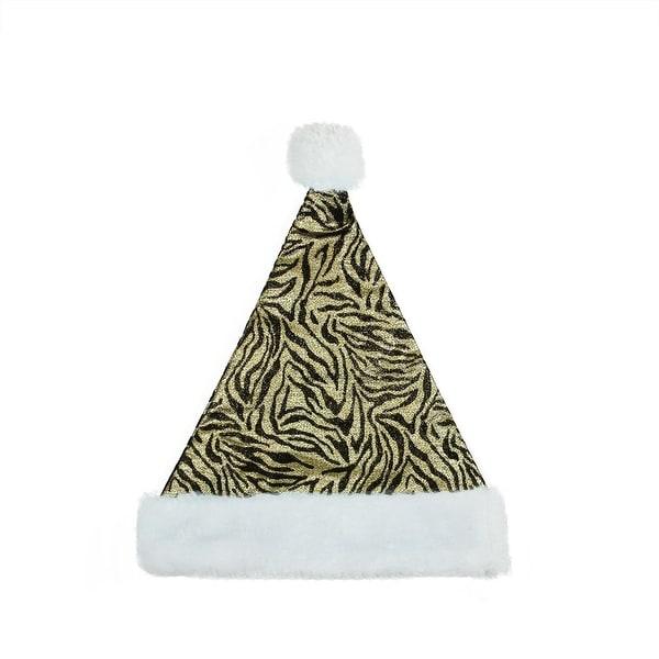 "14"" Diva Safari Black and Gold Christmas Santa Hat with White Faux Fur Brim - Medium Adult Size"