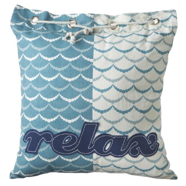 "2 Tropical Blue Ocean Wave ""Relax"" Nautical Knot Square Cotton Throw Pillows"