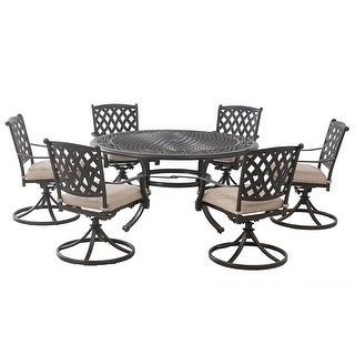 Sunjoy Cahill 7 Piece Deep Seating Set with Beige Cushion
