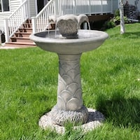 Sunnydaze 2 Tier Blossoming Flower Birdbath Outdoor Fountain - 27 Inch Tall