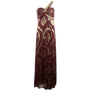 Betsy & Adam Women's Metallic Beaded One Shoulder Chiffon Dress - 4