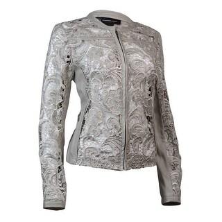 INC International Concepts Women's Pleather Lace Jacket