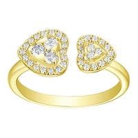 Prism Jewel 0.34Ct G-H/SI1 Natural Diamond Double Open Heart Valentine Ring - White