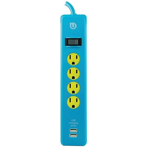 Ge 25117 Uber(Tm) 4-Outlet Power Strip With 2 Usb Ports, 4Ft Cord (Blue & Yellow)