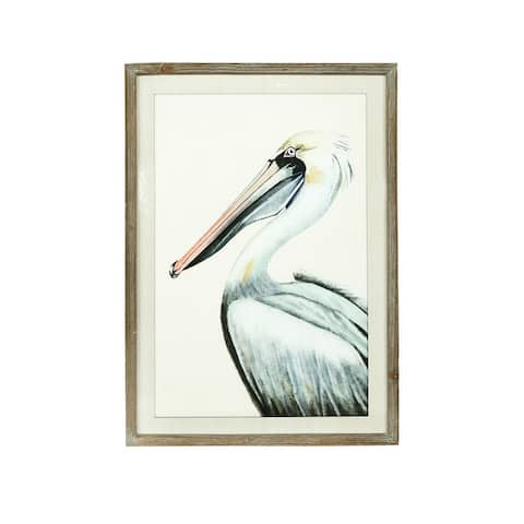 Pelican Image Wood Framed Wall Decor - Distressed Grey