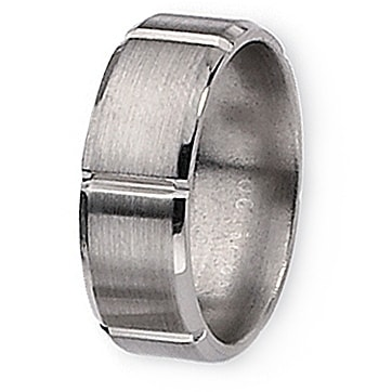 Chisel Beveled Edge Grooved Brushed and Polished Titanium Ring (8.0 mm)