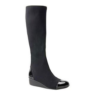 Ros Hommerson Women's Ebony Knee High Boot Black/Black Stretch/Patent
