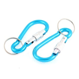 Unique Bargains Outdoor Spring Loaded Gate Screw Locked Keychain Carabiner Hook 2 Pcs Blue