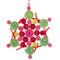 "5.25"" Bohemian Holiday Pink, Green and Yellow Button Design Snowflake with Red Bows Christmas Ornament"