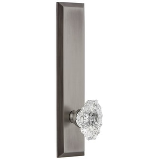 Grandeur FAVBIA_TP_SD_NA  Fifth Avenue Solid Brass Rose Tall Plate Single Dummy Door Knob with Biarritz Crystal Knob
