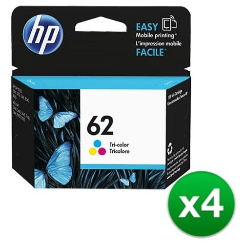 HP 62 Tri-color Original Ink Cartridge (C2P06AN) (4-Pack)