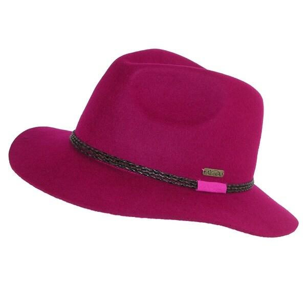 c7fcd1759ac54 Adora Women  x27 s Wool Felt Fedora Hat with Faux Leather Braided Hatband