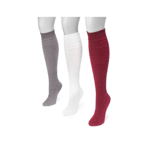 Muk Luks Socks Womens Knee High Snowflake 3 pack One Size - One size