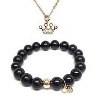Black Onyx Bracelet & CZ Crown Gold Charm Necklace Set