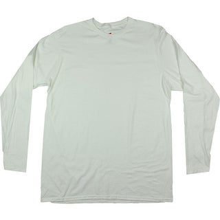 Hanes Mens Nano Long Sleeves Crew Neck Casual Shirt - L