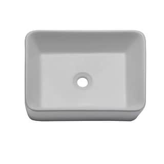 "DecoLav 1454  Gemma 19"" Rectangular Vitreous China Vessel Lavatory Sink - Ceramic White"