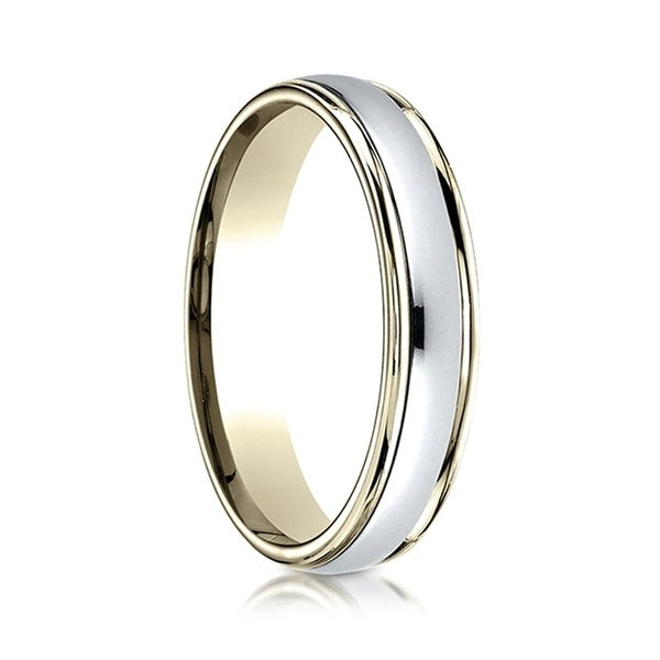 Benchmark 10K White Gold 4.5mm European Comfort-Fit Wedding Band Ring Sizes 4-14
