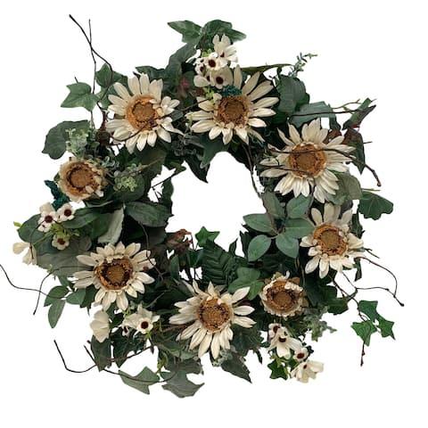 "Glitzhome 24""D Sunflower Wreath"