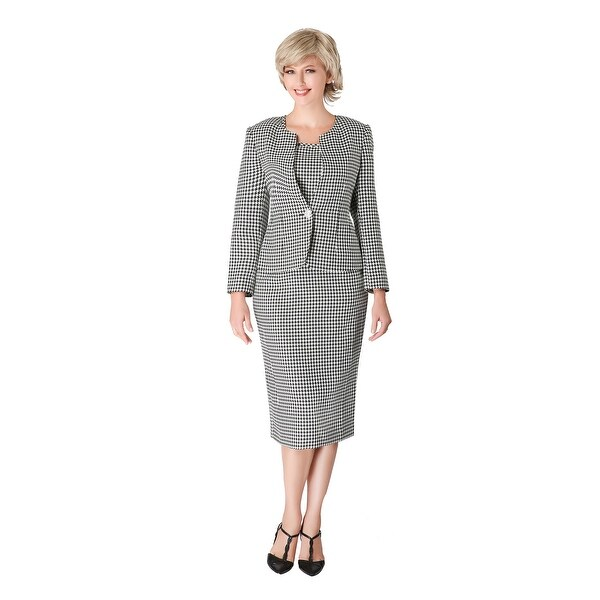 Giovanna Signature 3pc Black&White Novelty Fabric Skirt Suit. Opens flyout.