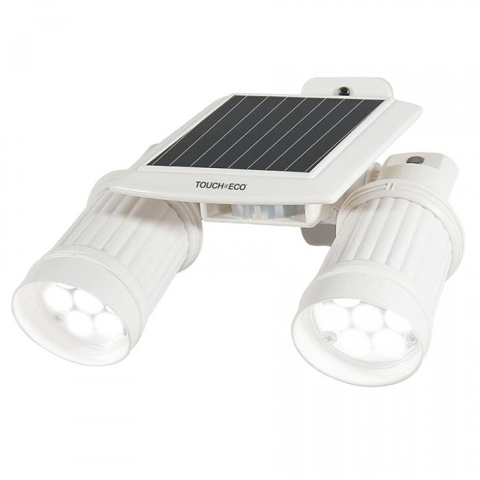TWINSPOT PRO Solar Motion Sensor Dual Head LED Spotlight In White - Thumbnail 1