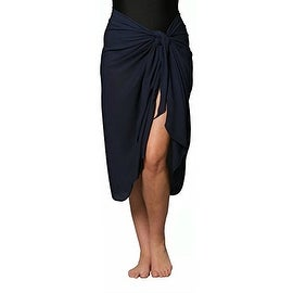 Long Navy Swimsuit Sarong Cover up with Built in Ties One Size