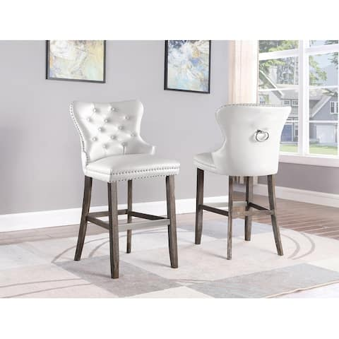Best Quality Furniture Tufted Velvet/Faux Leather Barstools with Ring