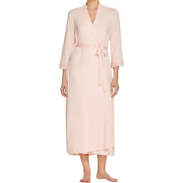 Oscar de la Renta Womens Long Robe Embroidered Trim 3/4 Sleeves - XS/S