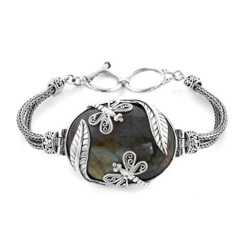 Shop LC 925 Sterling Silver Labradorite Bracelet Size 7.5 Inch Ct 35 - Bracelet 7.5''