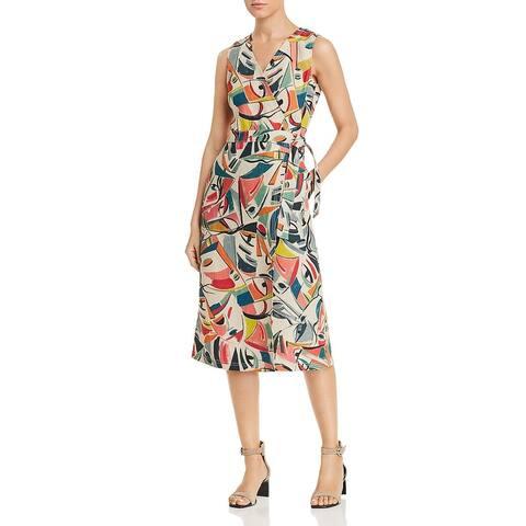 Lafayette 148 New York Womens Pammie Wrap Dress Linen Printed - Quarry Multi