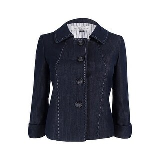 Tahari ASL Women's Petite Four button Jacket - chambray blue - 0p