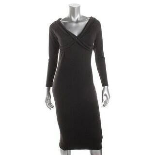 Kivenst Womens Casual Dress Fleece Lined Criss-Cross Front - m