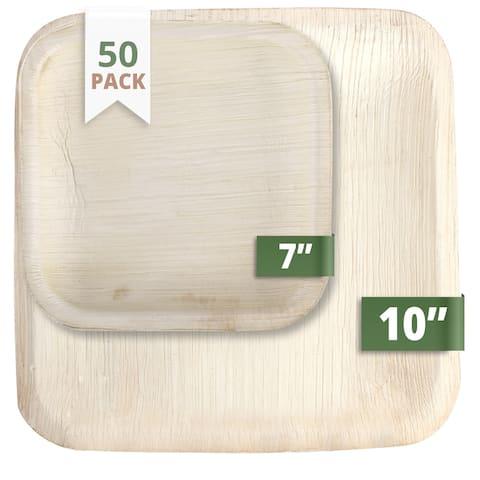 Green Evolve Palm Leaf Set (50 Pack) Square Light Brown - 50 Pack