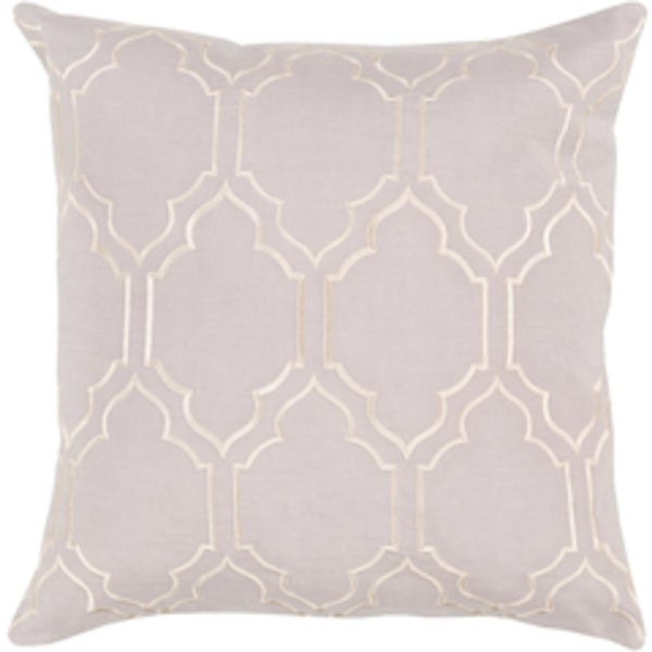 "20"" Trellis Royalty Languid Lavender and Swiss Coffee White Decorative Throw Pillow- Down Filler"