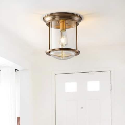 "Savannah 10.25"" Metal/Glass LED Flush Mount, Aged Brass by JONATHAN Y - Gold"