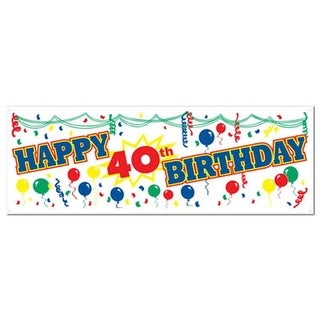 Beistle 57640-40 Happy 40th Birthday Sign Banner Pack of 12