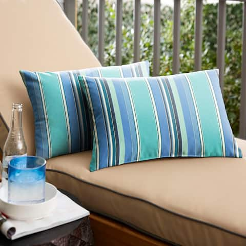 Dolce Oasis Knife-edge Outdoor Sunbrella Lumbar Pillow (Set of 2)