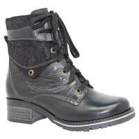 Dromedaris Women's Kara Print Boot Black Leather