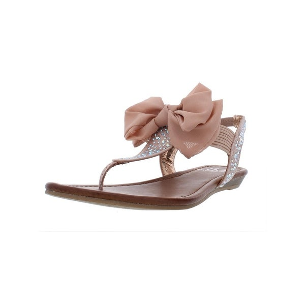 3dfbec09aa1 Material Girl Womens Swan 1 Flat Sandals Embellished T-Strap - 6 Medium (B