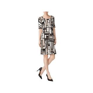 Kasper Womens Wear to Work Dress Cold Shoulder Abstract Print