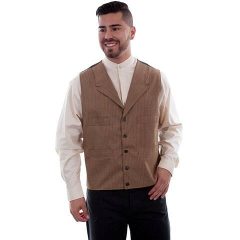 Scully Western Vest Mens 4 Pocket Button Plaid Wahmaker - Tan
