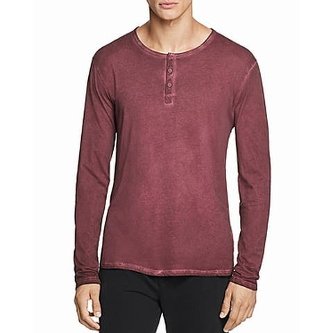 ATM Mens T-Shirts Red Size Small S Pigment Dyed Long-Sleeve Henley