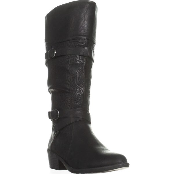 Easy Street Kelsa Wise Calf Harness Boots, Black/Embroided
