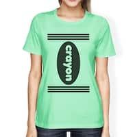 Crayon Womens Mint Graphic T-Shirt Round Neck Halloween Tee Shirt