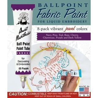 Aunt Martha's Ballpoint Paint Tubes 1oz 8/Pkg-Jewel Colors