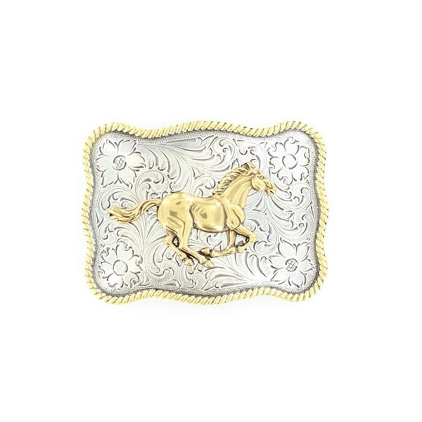Nocona Western Belt Buckle Rectangle Horse Silver Gold - 2 3/4 x 3 3/4