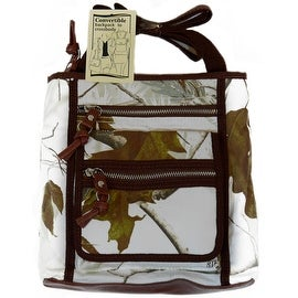 Realtree Convertible Crossbody Backpack 2-in-1 Handbag Canvas Forest Camo, White